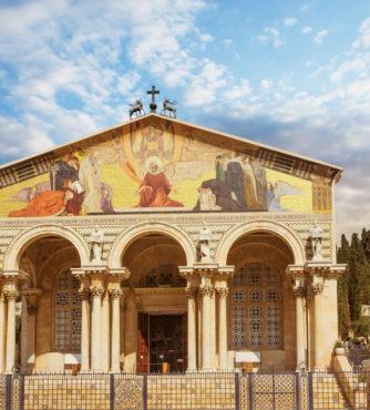 Basílica da Agonia (Gethsêmane) em Jerusalém no Monte das Oliveiras. Local onde Jesus foi encontrado pelos soldados romanos e arrestado para ser julgado por Herodes.